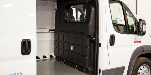 The composite partition with a window from Adrian Steel is designed to keep the cab area quiet...