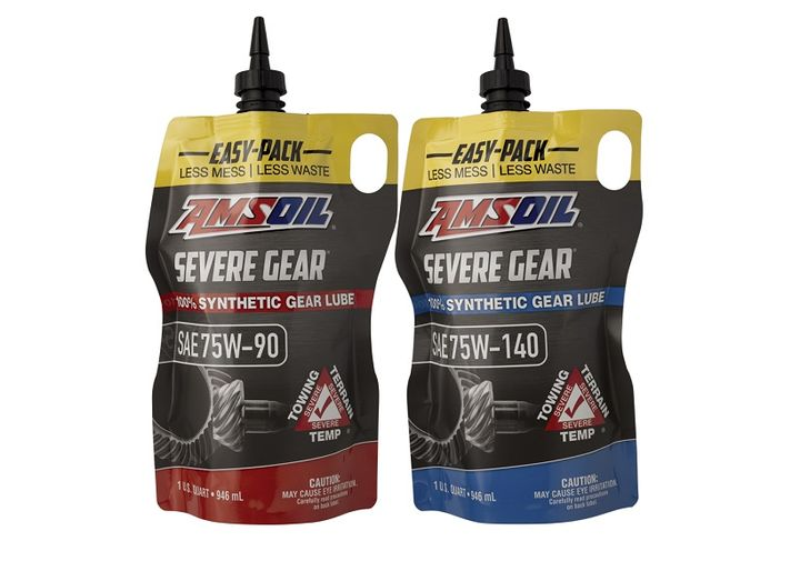 Amsoil debuted its Easy Pack flexible packaging, designed to make gear lube installations easier in cramped spaces.  - Photo courtesy Amsoil