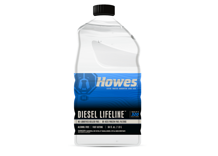 Howes Diesel Lifeline is an additive product that works to re-liquefy gelled fuel and de-ice frozen fuel filters.