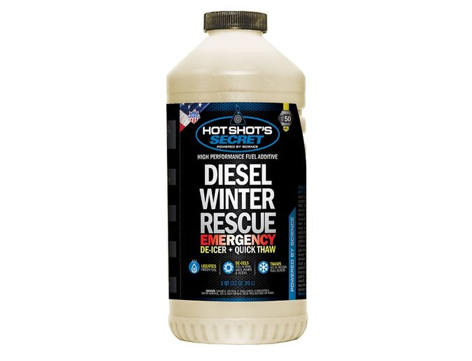 Diesel Winter Rescue is a fuel additive that isformulated to re-liquefy gelled fuel and de-ice frozen fuel filters.  - Photo courtesy Hot Shot's Secret
