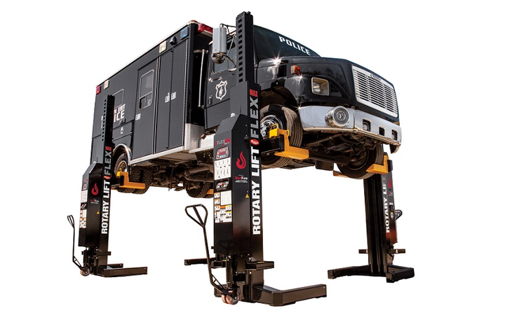 The Rotary Flex max is a wireless mobile column lift with remote control operation.