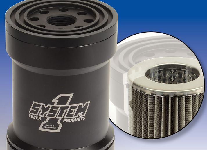 System 1 has introduced a new canister-style oil filter with a removable stainless steel mesh element.