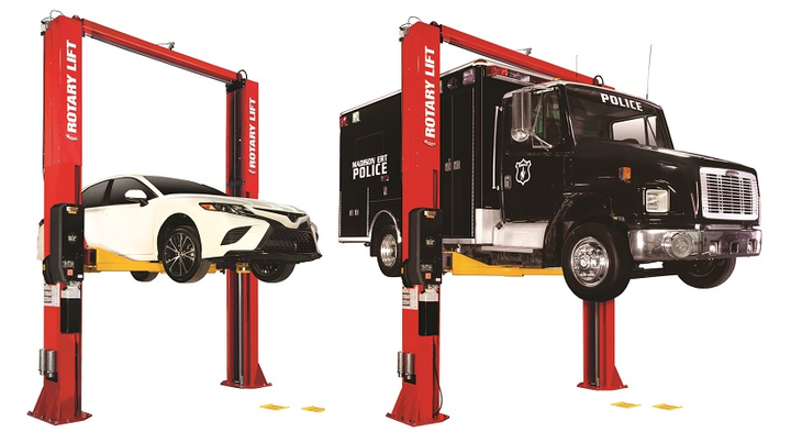 Rotary Lift has launched two high capacitytwo-post lifts with the SPO16 and SPO20 lifts, both featuring Trio arms and available Shockwave technology.  - Photo courtesy Rotary Lift