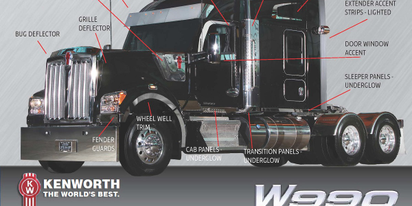 Featured chrome and polished components for the Kenworth W990 include grille deflectors, bug...
