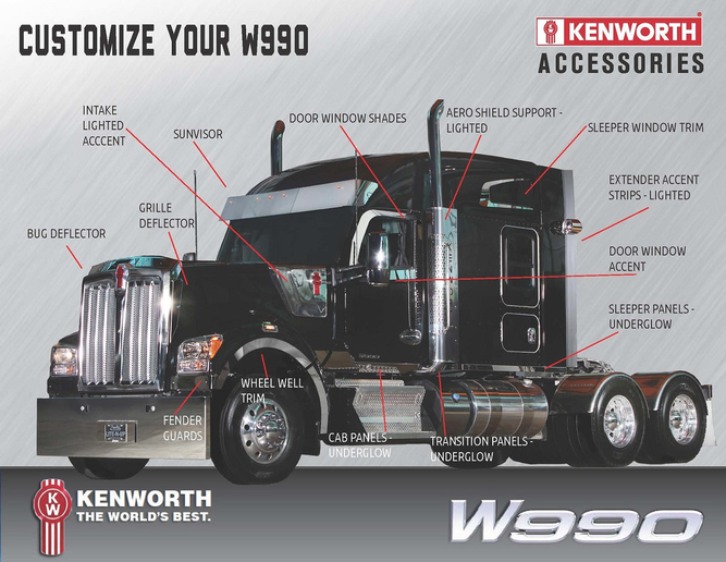 Featured chrome and polished components for the Kenworth W990 include grille deflectors, bug deflectors and door window shades.