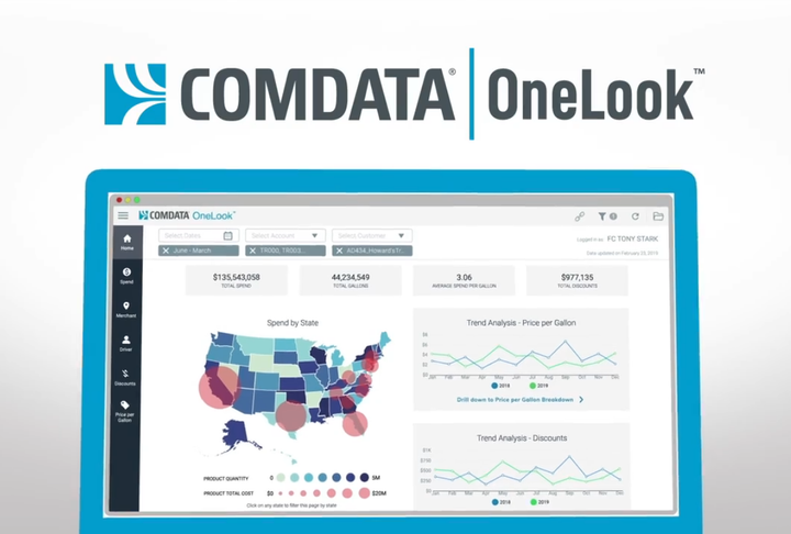 Comdata has launched Comdata OneLook, a business intelligence solution that provides fleet managers with more strategic and actionable analytics from a Comdata Fuel Card.  - Image via Comdata