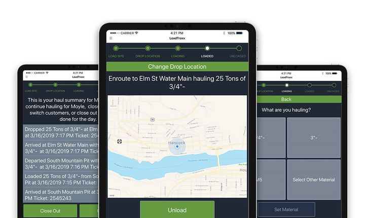 The LoadTraxx app allows short haul truck drivers to log their materials, enter load weights, select loading and unloading locations and set customers.