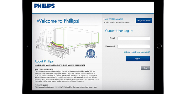 The PhillipsTools app provides quick access to information about the company and its products...