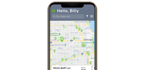 The TruckPark truck parking app helps truck drivers reserve overnight parking spots.