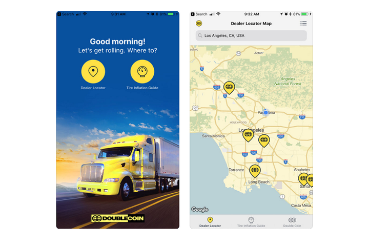 Double Coin has released a mobile app to help users find dealer locations and provides other useful information.  - Screenshot via App Store