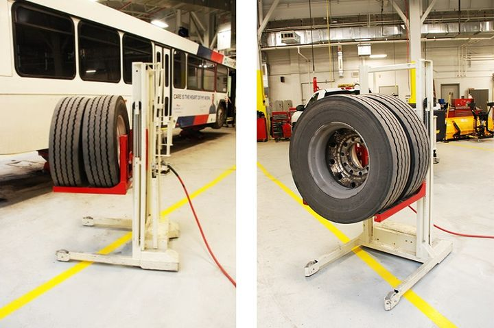 The WDA-500 high lift wheel dolly is designed to improve safety and performance when installing and moving tires.