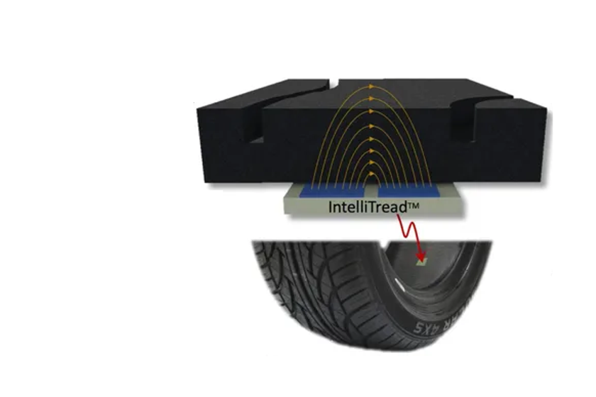 The IntelliTread drive-over system can quickly evaluate tread depth by simply driving a truck...