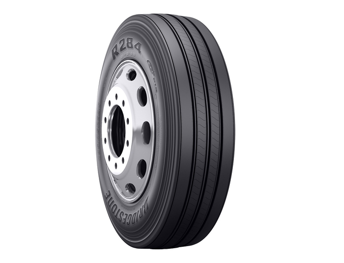 The R284 Ecopia tire is a SmartWay-verified steer tire designed for improved fuel economy and enhanced treadwear.