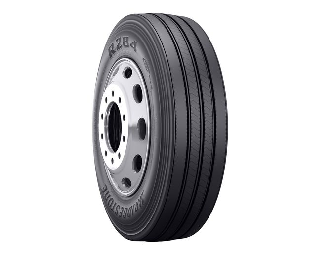 The R284 Ecopia tire isa SmartWay-verified steer tire designed for improved fuel economy and enhanced treadwear.  - Photo courtesy Bridgestone Americas