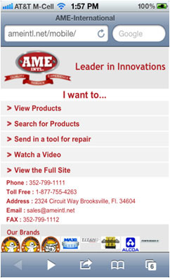 To view AME's mobile web site on your smartphone or tablet, enter ameintl.net into the browser.
