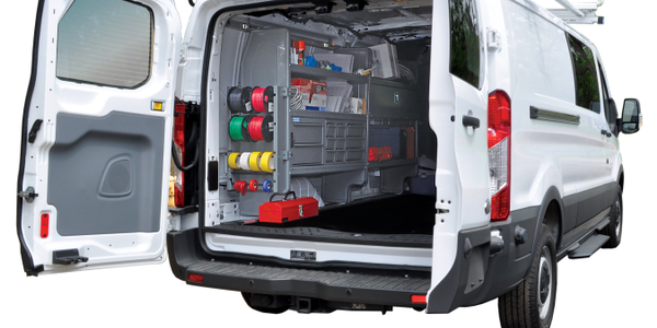 Interior of a Ford Transit van upfitted with Adrian Steel products. Photo: Adrian Steel