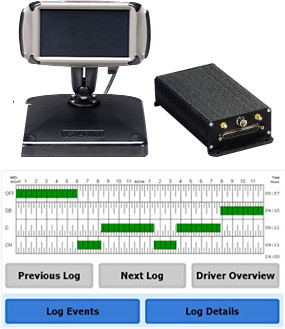The Intellitruck on-board system consists of a low-profile mobile data computer and a color, touchscreen in-cab unit display.