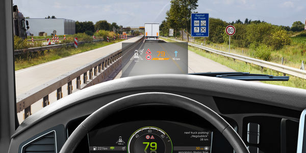 Continental's heads-up display shows vital information without the driver having to take his or...