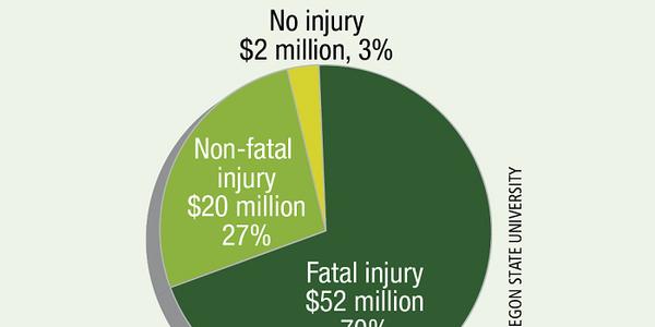 Crash harm costs in six Oregon truck crash 'hot spots.'