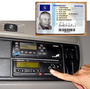 In the EU, the driver's smart card, top, is inserted into the vehicle unit portion of the digital tachograph, above. But there have been reports of the data on the card and the VU not matching up, among other problems.