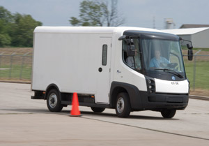 The eStar's turning circle is only 36 feet. Electric propulsion is so quiet that Navistar is thinking of broadcasting music from an external speaker to avoid sneaking up on pedestrians. (Photo by Navistar)
