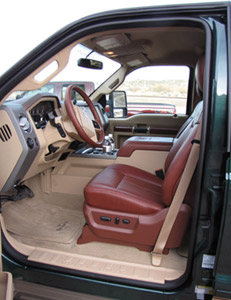 King Ranch seats have thick, soft leather like that on a quality baseball mitt, but they're part of a high-end trim package. (Photo by Tom Berg)