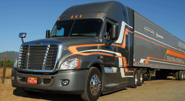 This Freightliner Cascadia Evolution boasts the new DT12 automated transmission from Deroit.