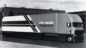 In 1981, the radical aerodynamics of Fruehauf's FEV (fuel-efficient van) 2000 got 7.4 mpg -- 72 percent better than a baseline tractor-trailer.