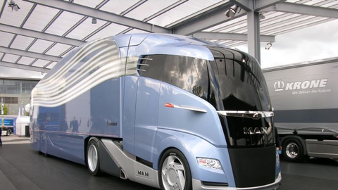 "This ""aerodynamically optimized road train"" concept truck from MAN and Krone, both prominent..."