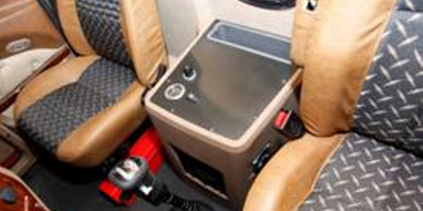 Mack announced interior enhancements, including this bodybuilder console, to its Granite and...