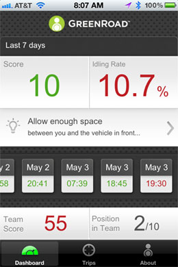 With the app, drivers can access their Safety Score, idling rate, team rank and trip details from the past seven days.