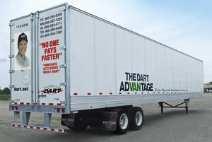 This photo shows features of Dart Transit's Eco Trailer, a 53-by-102 van built by Hyundai in Tijuana, Baja Calif. Double-sheet sidewall was designed and patented by Dart's president, Dave Oren. (Photo courtesy of Dart Transit Co.)