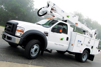 Ford does not offer hybrids from the factory, but Eaton engineers installed an electric-drive system on this F-550 chassis to show that retrofits are entirely doable on this popular class of truck. (Photo by Tom Berg)