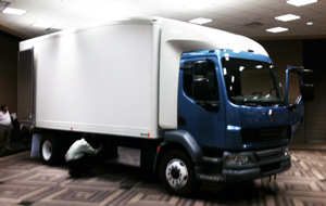 Prototype Kenworth K370 displayed at NTEA New Model Truck Product Conference.