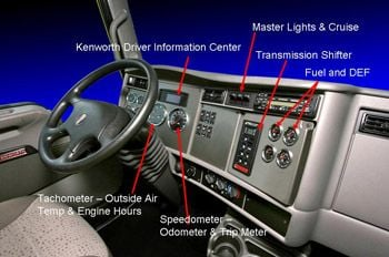 Redesigned dashboard for Kenworth T300 series includes new gauges, information center and trim.