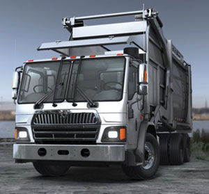 LoadStar Class 8 low-cab-forward truck's planned applications include trash collection.