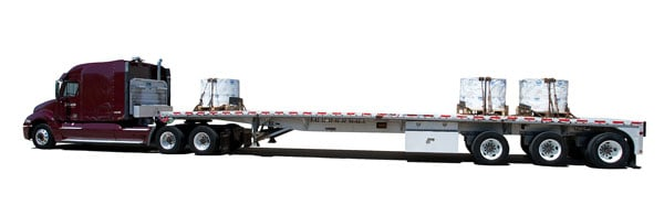 This mockup from Maverick shows how a proposed three-axle, 48-foot flatbed would carry 51,000 pounds on its tridem, plus the familiar 12,000 pounds on the tractor's steer axle and 34,000 on its tandem.