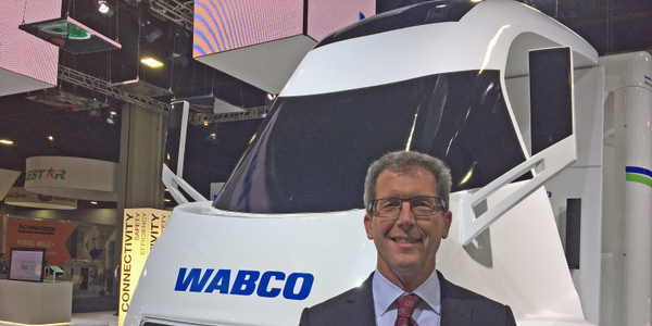 Wabco's Jon Morrison at the North American Commercial Vehicle Show earlier this fall. Photo:...
