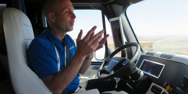 Even when autonomous technologies handle the steering, as in Freightliner's Inspiration Truck...