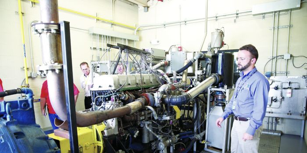 Inside an engine test cell at San Antonio's Southwest Research Institute, which helped develop...