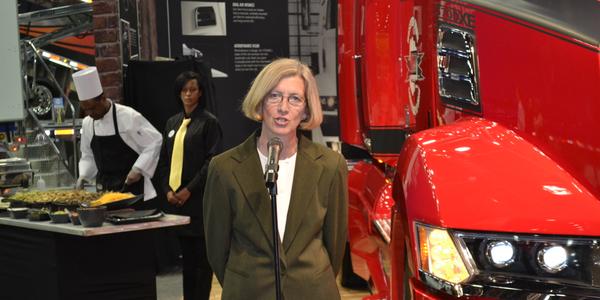 Kelley Platt speaks to the trucking press at the Mid-America Trucking Show in Louisville, Ky.,...
