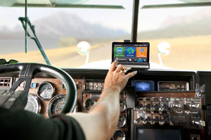 Navigation solutions have evolved beyond just the consumer market; trucking-specific units are bigger and easier to use for truck drivers. (Photo by Rand McNally)