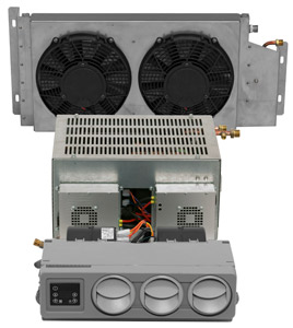 The Arctic 2000 model (shown) consists of three pieces: an evaporator, condenser, and compact under-bunk compressor unit.