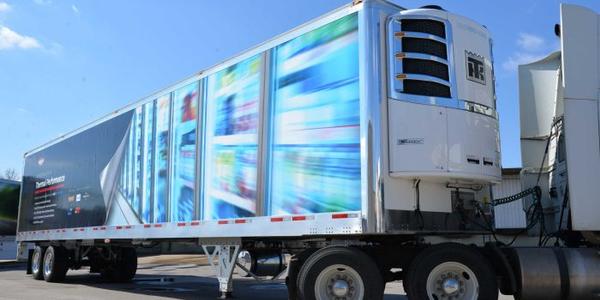 Wabash National's prototype composite reefer trailer uses fiberglass, carbon fiber and resin in...