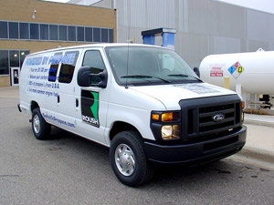 Production on the E-Series, propane-fueled vans should begin in the first quarter of 2010.