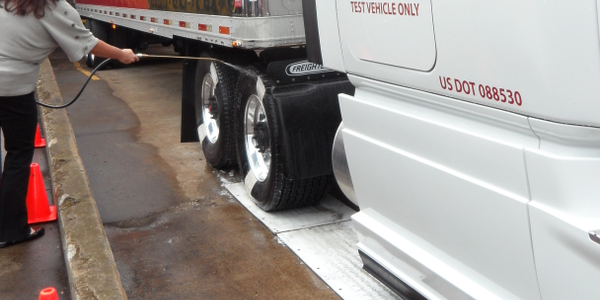At a Meritor demonstration last December in North Carolina, soapy water and slipper plastic...