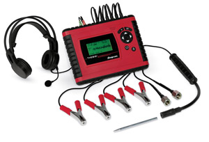 The new THEBIS Noise and Vibration Diagnostic Unit includes four inductive clamps that pick up vibrations and noise from the chassis and driveline and two vent transducers that pick up sounds from the vehicle's drivetrain.