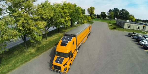 Canada's Groupe Robert is using six solar panels and four deep-cycle batteries to keep drivers...