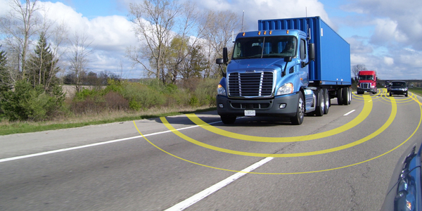 A truck's telematics unit acts as a communications hub, transmitting data from various sensors...