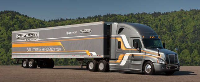 Cascadia Evolution achieved 9.31 mpg on a  2,400-mile cross country trip on real Interstate highways between San Diego, Calif., and Gastonia, NC.,